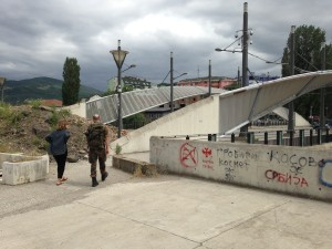 Dr. Bernd Franke and Jacqueline Bhabha at Mitrovica Bridge